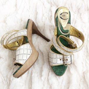 JUST CAVALLI Ankle Strap Open Toe Wooden Heels